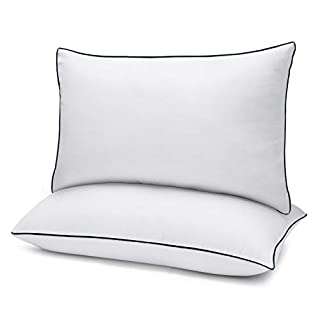 """Bed Pillows for Sleeping 2 Pack Standard Size(20"""" x 26"""") White, Gel Pillow with Soft Premium Plush Fiber Fill Skin-Friendly"""