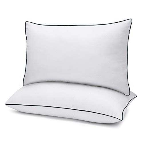 Bed Pillows for Sleeping 2 Pack Queen Size(20″ x 30″) White, Gel Pillow with Soft Premium Plush Fiber Fill Skin-Friendly
