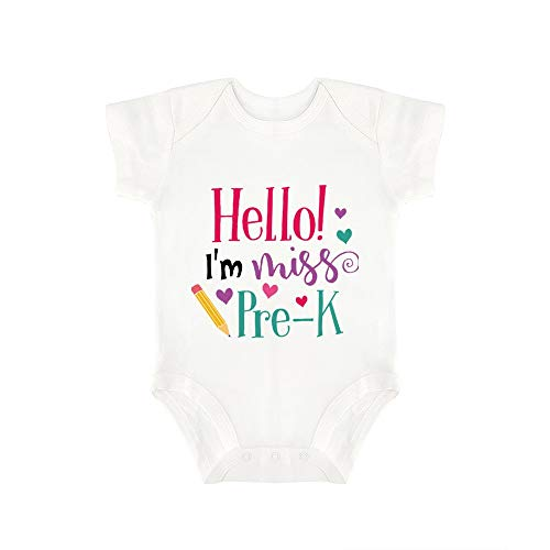(Promini Cute Baby Onesie Hello Im Miss Pre K Baby Bodysuit Infant One Piece Baby Romper Best Gift for Baby White)