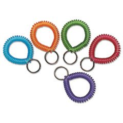 - SteelMaster Wrist Coil with Key Ring, Assorted, 10/Box