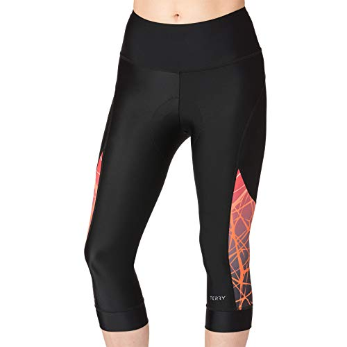 Terry Women's Cycling Soleil Capri with UPF 50+ Fabric - Designed for Comfort and Performance - Black/Tangled Coral - Medium ()
