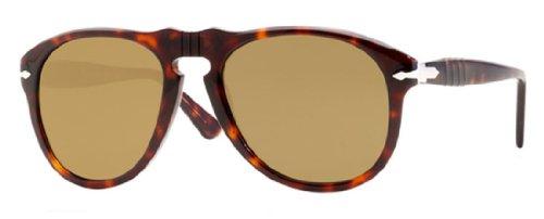 Persol Men's 0PO0649 24/57 Polarized Round Sunglasses,Havana/Crystal Brown Polarized Lens,52 - Brown Sunglasses Persol