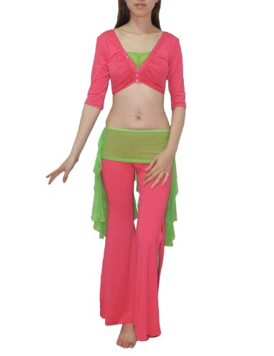 3 pcs Set: Womens Belly Dance 3/4 Sleeve Top, Hip Scarf & Pant Set Pink & Green