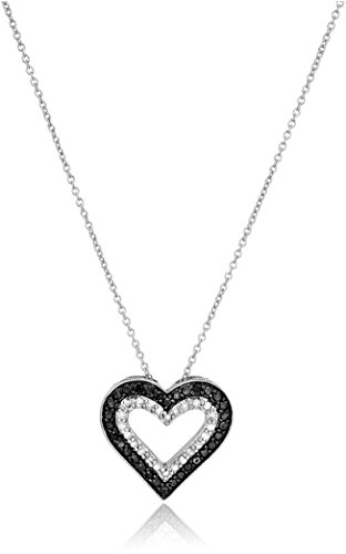 Sterling Silver 1/2cttw Black and White Diamond  Heart Pendant Necklace, 18'