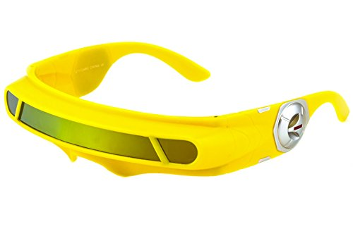 3873e5965c Futuristic Space Alien Costume Party Cyclops Shield Colored Mirror Mono  Lens Wrap Sunglasses 137mm (Yellow