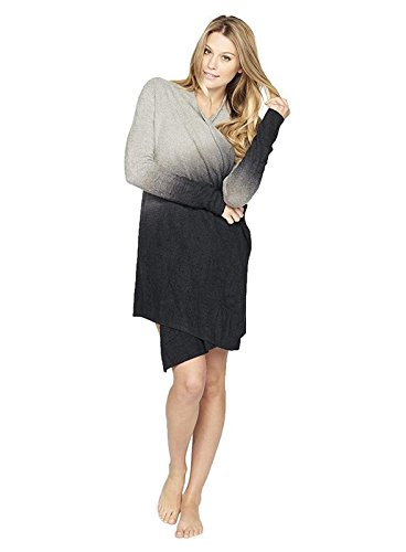 Barefoot Dreams Women's CozyChic Lite Calypso Wrap (Ombre Pewter/Black, Small / Medium) (Bamboo Wrap)