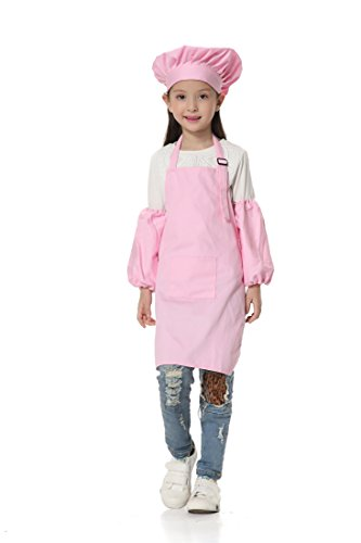 [OSBEL Deluxe Child's Chef Hat Apron Set, Kid's Size, Children's Kitchen Cooking and Baking Wear Kit for those Chefs in Training (8-13 Years old(Height 4.1-4.6 ft),] (Chef Costumes For Kids)
