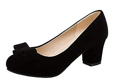 VogueZone009 Women's Imitated Suede Round Closed Toe Solid Pumps-Shoes,CCADP011904,Black,43