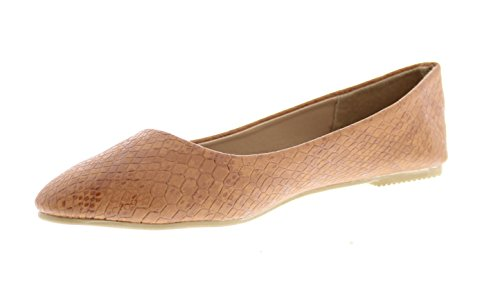 Gold Toe Women's Coco Faux Leather Snake Embossed Ballet Flat Dress Pump Slip On Shoes with Arch Support Mocha 6 ()