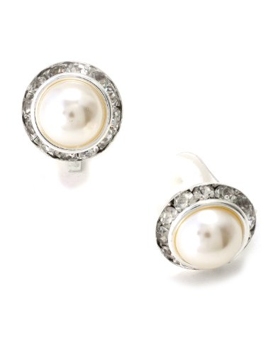 stone Round Shaped Clip Earrings with White Dome Pearl (Dome Silver Earrings)