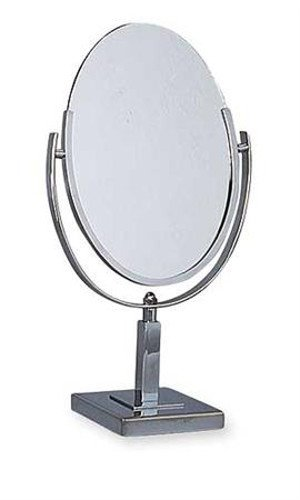 Chrome Metal Frame Tilting Oval Counter Two Sided Mirror 6