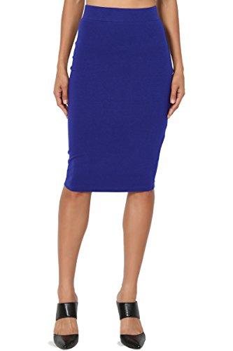 TheMogan Women's Stretch Cotton Elastic High Waist Pencil Midi Skirt Denim Blue - Straight Denim Skirt