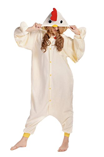 NEWCOSPLAY Unisex Adult One- Piece Cosplay Animal Pajamas Halloween Costume (L, White Chicken) -