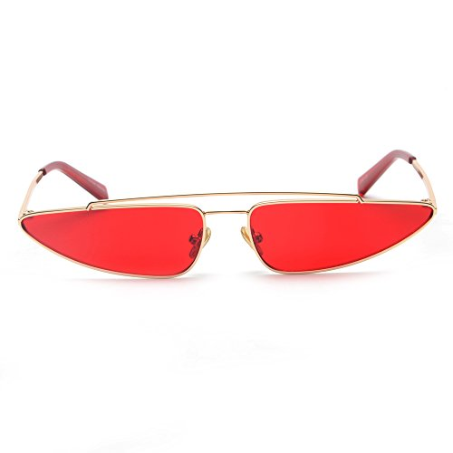 De Triángulo De Mujer Gafas Ojo Vintage La Moda De De Amarillo Rojo Mujer Sol En Gato Pequeña Gafas Sol De Metal Rosa El Para Estructura TIANLIANG04 18qdx1