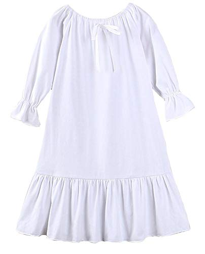 Coralup Toddler Girls Sleepwear Nightgowns Casual Dress(White,5-6Y)]()