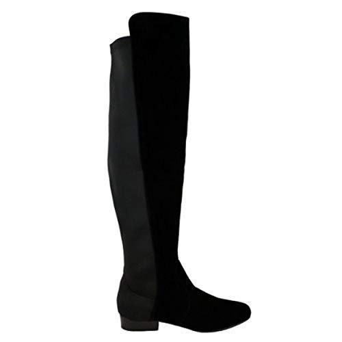 Taille Tout Style Jambe Daim Sur Bottes Large Extensible Àélastique Pour Femmes Genoux Cavalier Plat Noir Hauteur Owxqf0R1