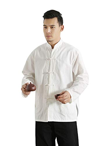 (Idopy Men`s Chinese Traditional Linen Cotton Tai Chi Kung Fu Mandarin Collar Frog-Button Shirt (US L, White))