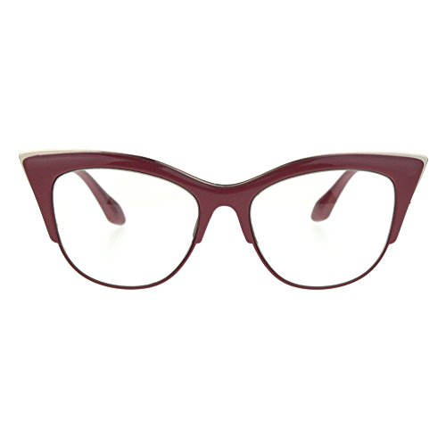 SA106 Womens High Point Squared Half Rim Look Cat Eye Glasses Red -