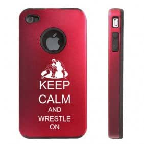 Apple iPhone 4 4S Red D4515 Aluminum & Silicone Case Cover Keep Calm and Wrestle On