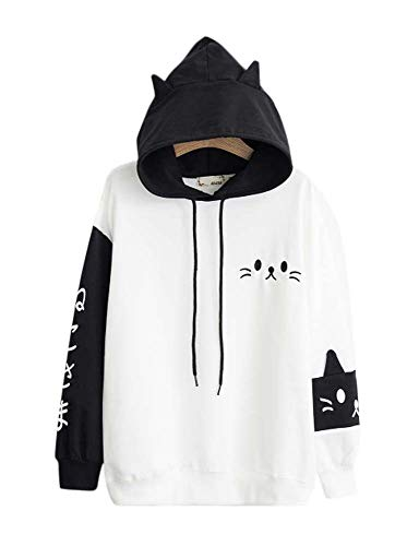 Cosplay Anime Bunny Emo Girls Sweater Hoodie Ears Costume Panda Cat Emo Bear Jacket T Shirt Top Shirt (Black Bear) -