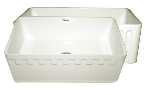Whitehaus WHFLATN3018 30-Inch Reversible Series Fireclay Sink with Athinahaus Front Apron One Sided Fluted Front Apron on Opposite Side, Biscuit