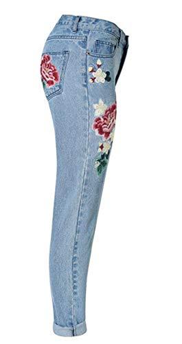 Sueltos Adelina Casuales Pantalón Con Novio Bordados Vaqueros Delanteros Bolsillos Cintura Las De Mujeres Colour Pantalones Detalle Ropa Mediana EBr8aqwE