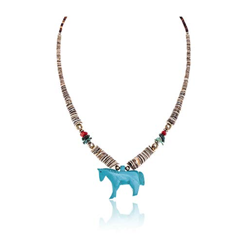 Horse .925 Sterling Silver Certified Authentic Carved Fetish Navajo Native American Natural Turquoise Graduated Melon Shell Coral Necklace