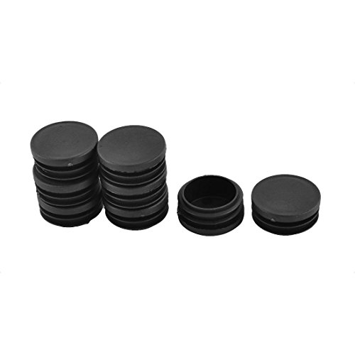 Antrader Furniture Foot Chair Table Legs Plastic Round Ribbed Tube Insert Plug Blanking End Caps Covers Protector Black 35-60mm 16pcs (40mm)