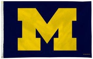 NCAA Michigan Wolverines 3-Foot by 5-Foot Single Sided Banner Flag with (Michigan Wolverines Ncaa Wall)