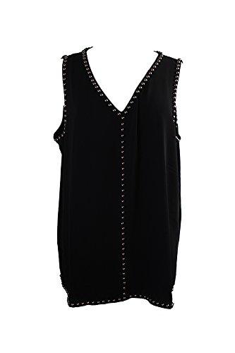 Alfani Black Sleeveless Studded V-Neck Top