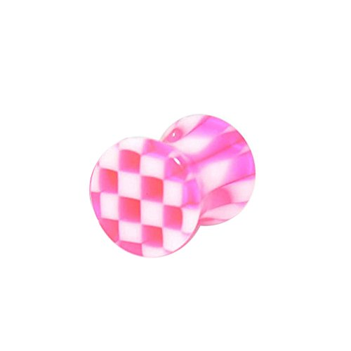 Tunnel-Plug-Taper 5MM Pink Checker UV Acrylic Double Flared Ear Plugs Body jewelry
