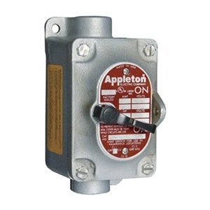 Appleton EDSC150-F2 EDS Series Tumbler Switch, Feed-Thru, 1 Gang, 2 Pole, 20 Amp, 120-277 VAC, 1/2'' Hub by Appleton