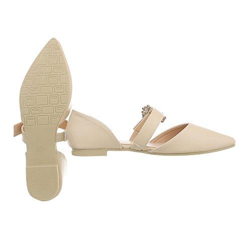 Ancho Para 39 Bailarinas Tacón Clásicas Bailarinas Design Zapatos Beige 127 Ital Mujer qg6YSPE