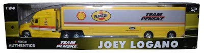 2018 Wave 5 NASCAR Authentics Joey Logano Penske Shell Pennzoil 1/64 Scale Hauler Trailer Rig Semi Truck Trailer Tractor Cab...Metal Cab, Plastic Trailer