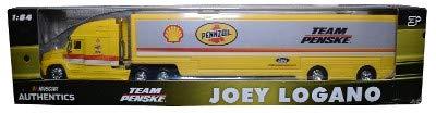 2018 Wave 5 NASCAR Authentics Joey Logano Penske Shell Pennzoil 1/64 Scale Hauler Trailer Rig Semi Truck Trailer Tractor Cab...Metal Cab, Plastic Trailer ()