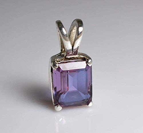 100% Color Change Lab-Created Alexandrite 925 Solid Sterling Silver Pendant