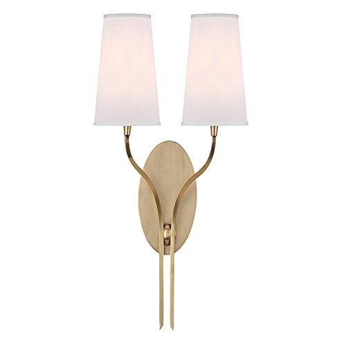Rutland 2-Light Wall Sconce - Aged Brass Finish with White Faux Silk Shade
