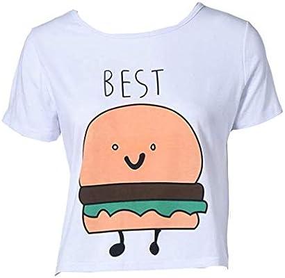 QHGstore Camiseta de impresión divertida Camisetas de algodón de las mejores amigas camisetas Tops camiseta de manga corta NO.2 S: Amazon.es: Deportes y aire libre
