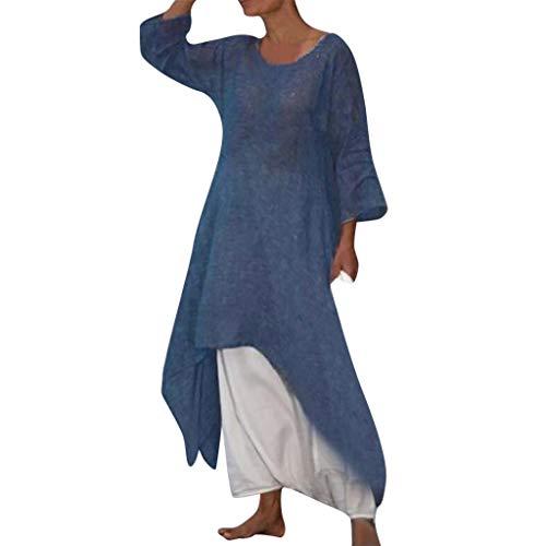 Women's Long Beach Dresses,LuluZanm Sales! Ladies Summer Boho Solid Fancy Dresses Half Sleeve Plus Size Loose Dresses Navy