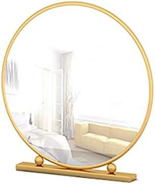 北欧鍛鉄バスルームミラーメイクアップミラー、デスクトップバニティミラー、シェービング用ミラー、装飾的な鏡、ファッション浴室デコレーション,Gold,Diameter 50CM