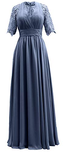 Women Mother MACloth Evening Dress Bride The Blue Formal Sleeves Lace of Steel Gown Short BgAgZqwF