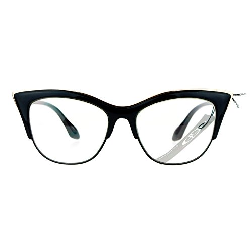 SA106 Womens High Point Squared Half Rim Look Cat Eye Glasses Black