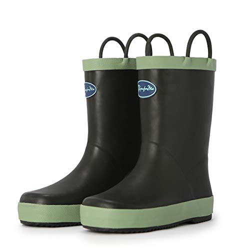 KomForme Kids Rain Boots, Waterproof Rubber Matte Boots with Reflective Stripes and Easy-on Handles Black
