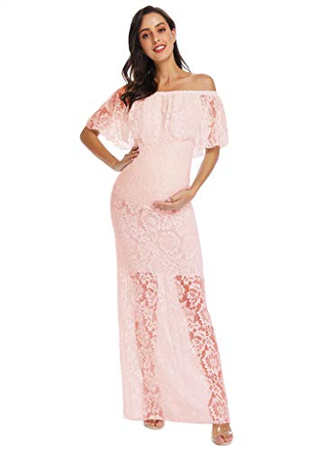 Wedding Maternity Fitted Maternity Lace Gown Maternity Photoshoot Gown Lace Baby Shower Dress Lace Wedding Gown Photoshoot Dress Xl Pink