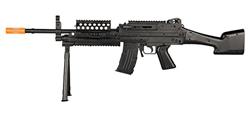 UKARMS P1046 LMG Airsoft Rifle Gun w BIPOD + LED Flashlight + Laser + 6MM BB