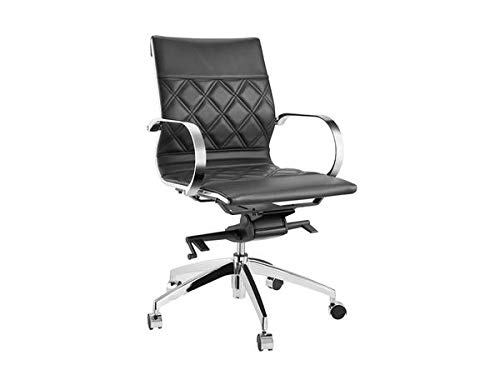 Soft Black Leather Office Chair witih Criss-Cross Pattern