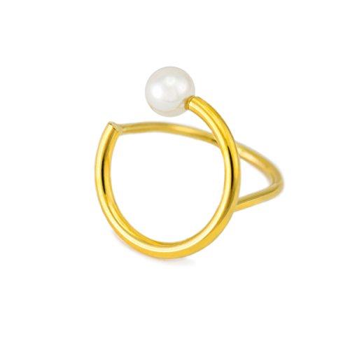LANE WOODS Minimalist Simple Dainty Lapis Lazuli Gemstone Pearl Finger Rings 14K Gold Plated Thin Cute Fashion Rings for Women Ladies Girls (Gold/Pearl) ()