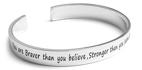 """Inspirational Silver Cuff Bracelet – Stamped """"You Are Braver & Stronger Than You Think"""" Jewelry for Women, Teens, Girls – Motivational Quotes Mantra Band Bracelets – Perfect (Silver Charming Life)"""