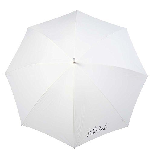 Eyecatching Wedding Bridal Umbrella for 2 with JUST MARRIED Print - WHITE