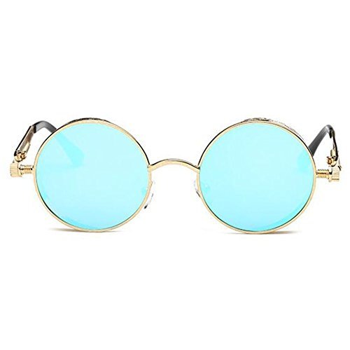 Round de Glasses Lunette Sun Retro Femme Lunettes Metal Vintage Bleu Hommes soleil Circle Or Steampunk qwn7PnxEI